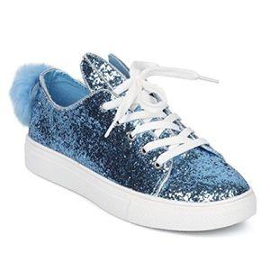 Shoes - Women's Blue glitter bunny sneakers